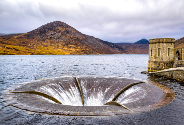 Overflow drain in the Silent Valley Reservoir. The reservoir is in the Mourne Mountains of Northern Ireland